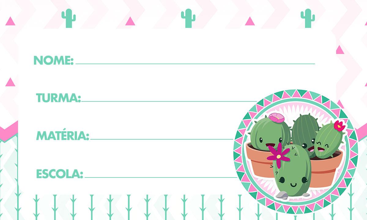 Etiqueta Escolar Personalizada Cactos Rosa 2