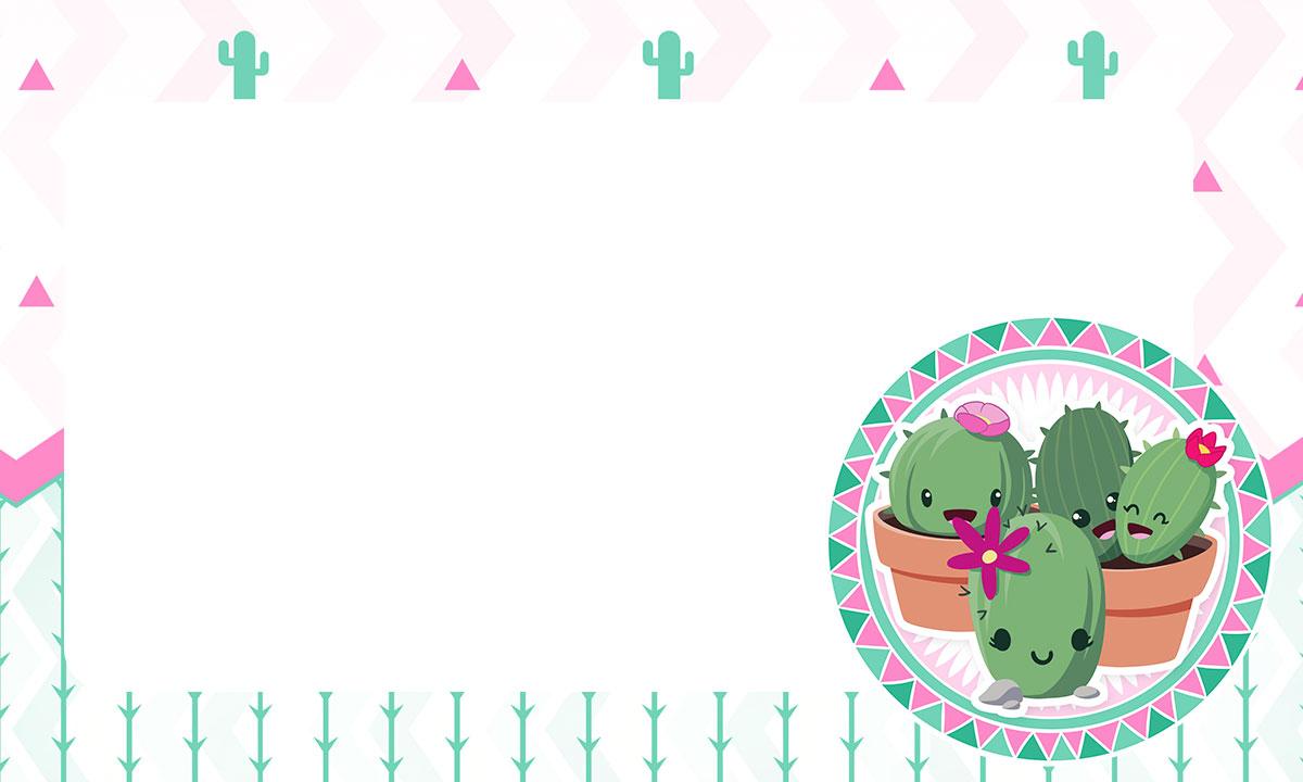 Etiqueta Escolar Personalizada Cactos Rosa