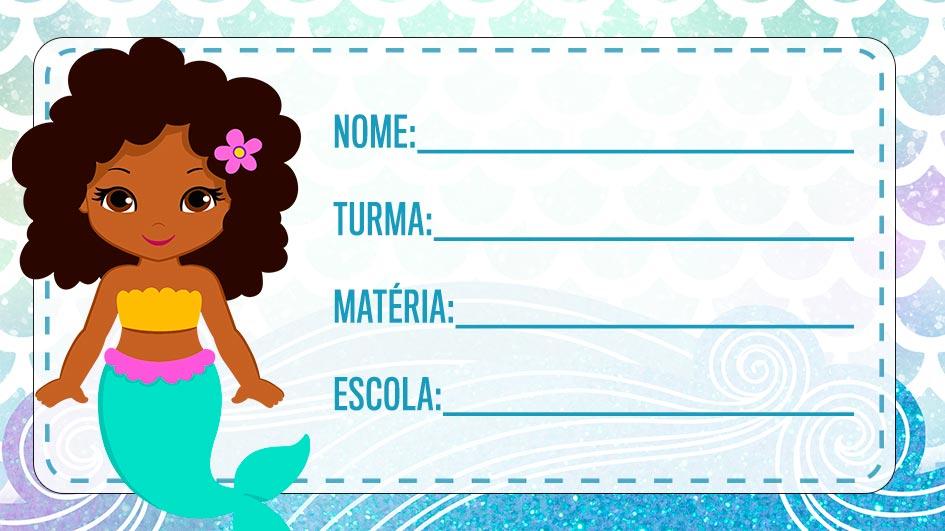 Etiqueta Escolar Sereia Afro para imprimir