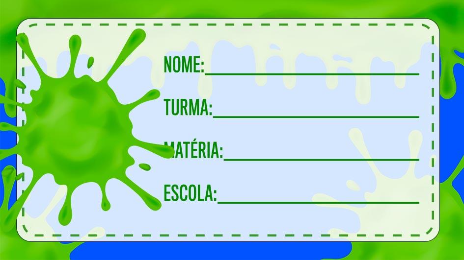 Etiqueta Escolar Slime para imprimir