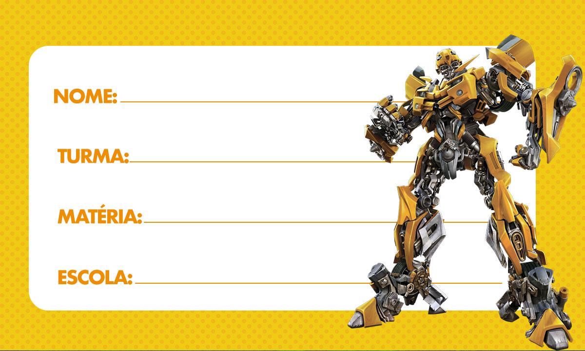 Etiqueta Escolar Transformers para imprimir 3