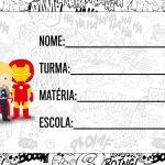 Etiqueta Escolar Vingadores cute para editar