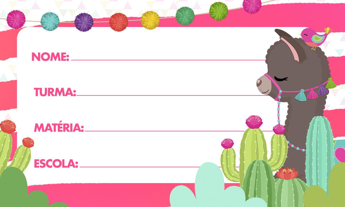 Etiqueta Escolar para Imprimir Lhama Rosa 2