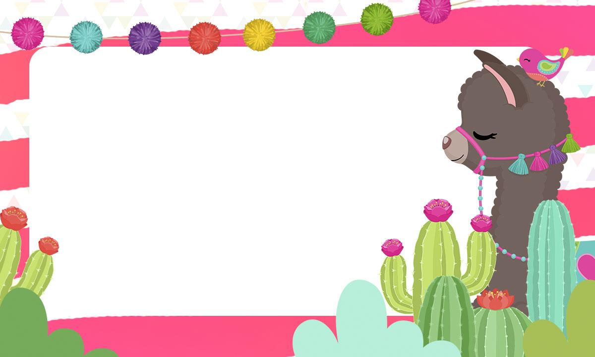 Etiqueta Escolar para Imprimir Lhama Rosa