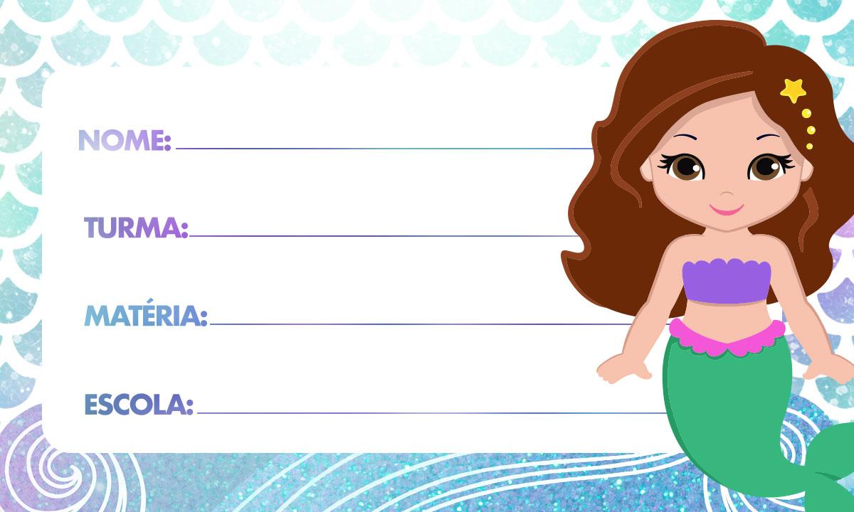 Etiqueta Personalizada Volta as Aulas Sereia Cute 2