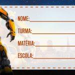 Etiqueta escolar Bumblebee para imprimir