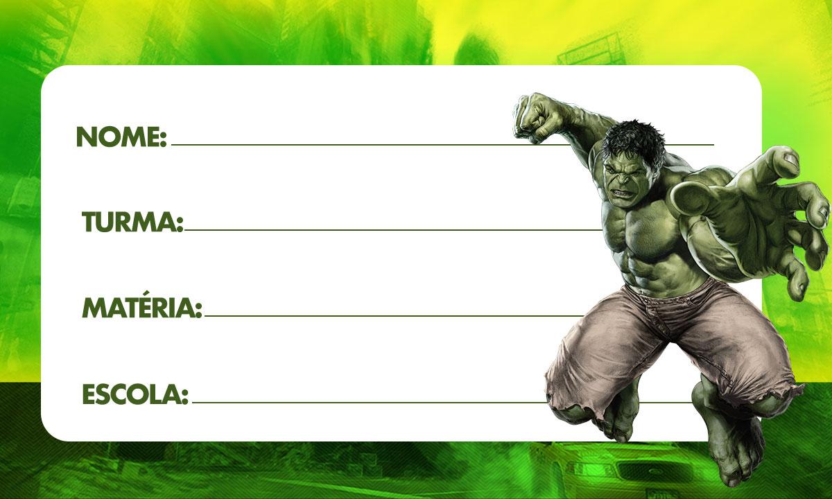 Etiqueta escolar Hulk 3