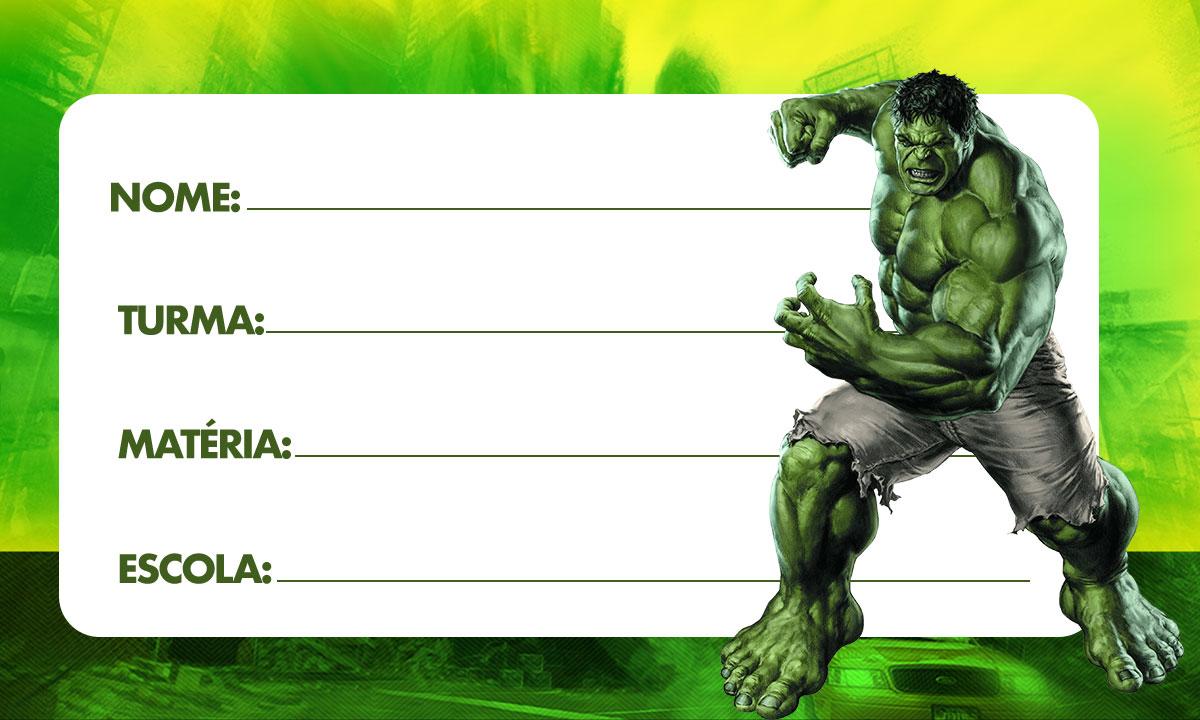 Etiqueta escolar Hulk 4
