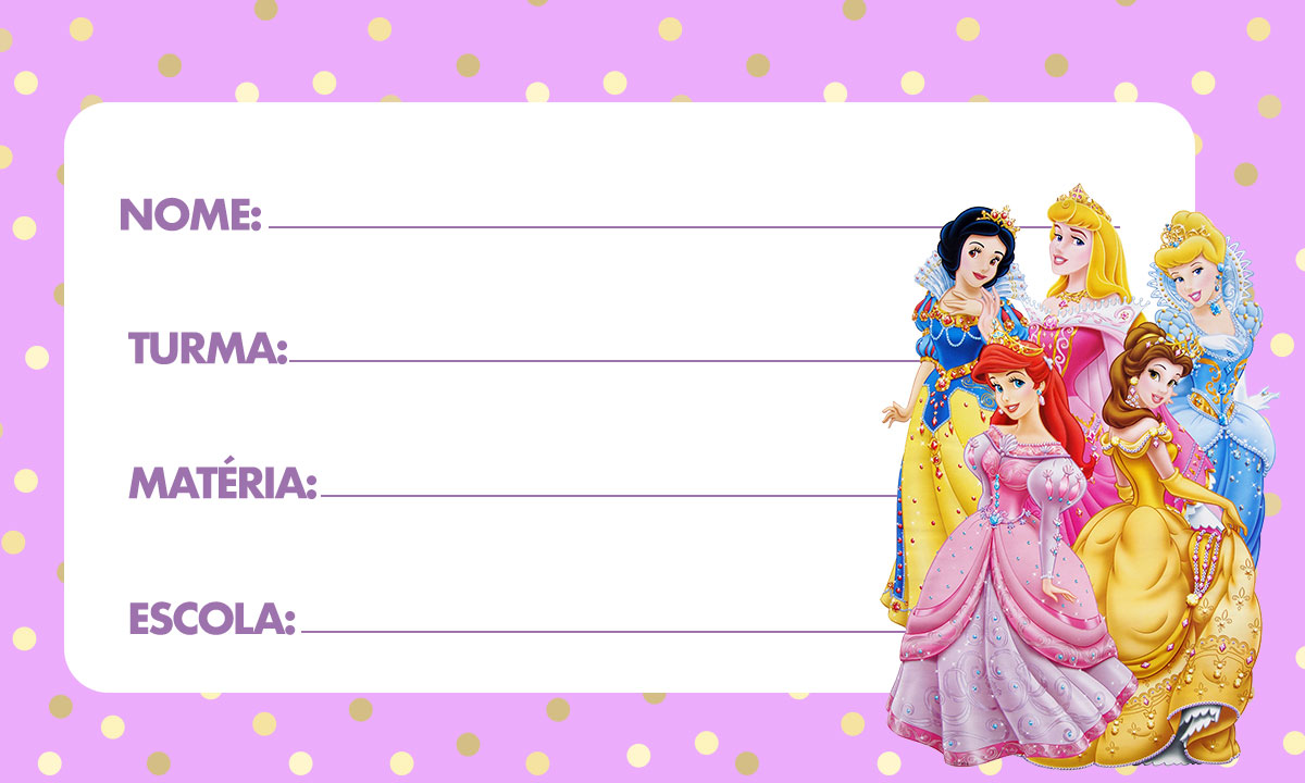 Etiqueta escolar Princesas Disney 3