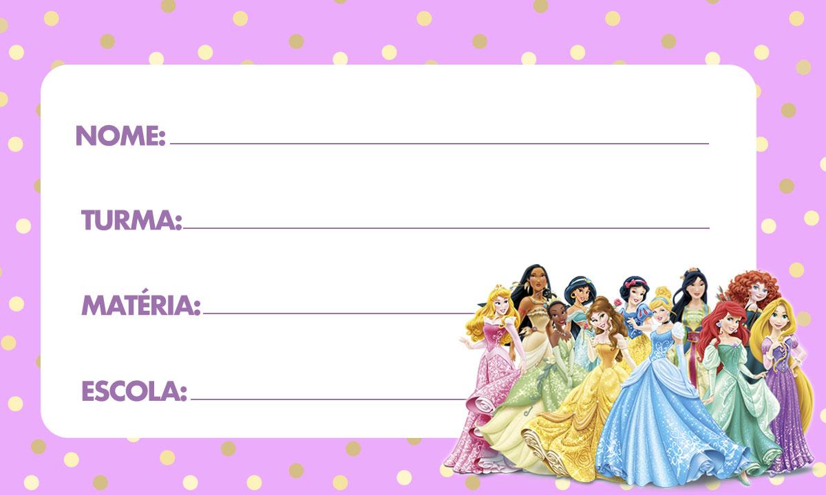 Etiqueta escolar Princesas Disney 4