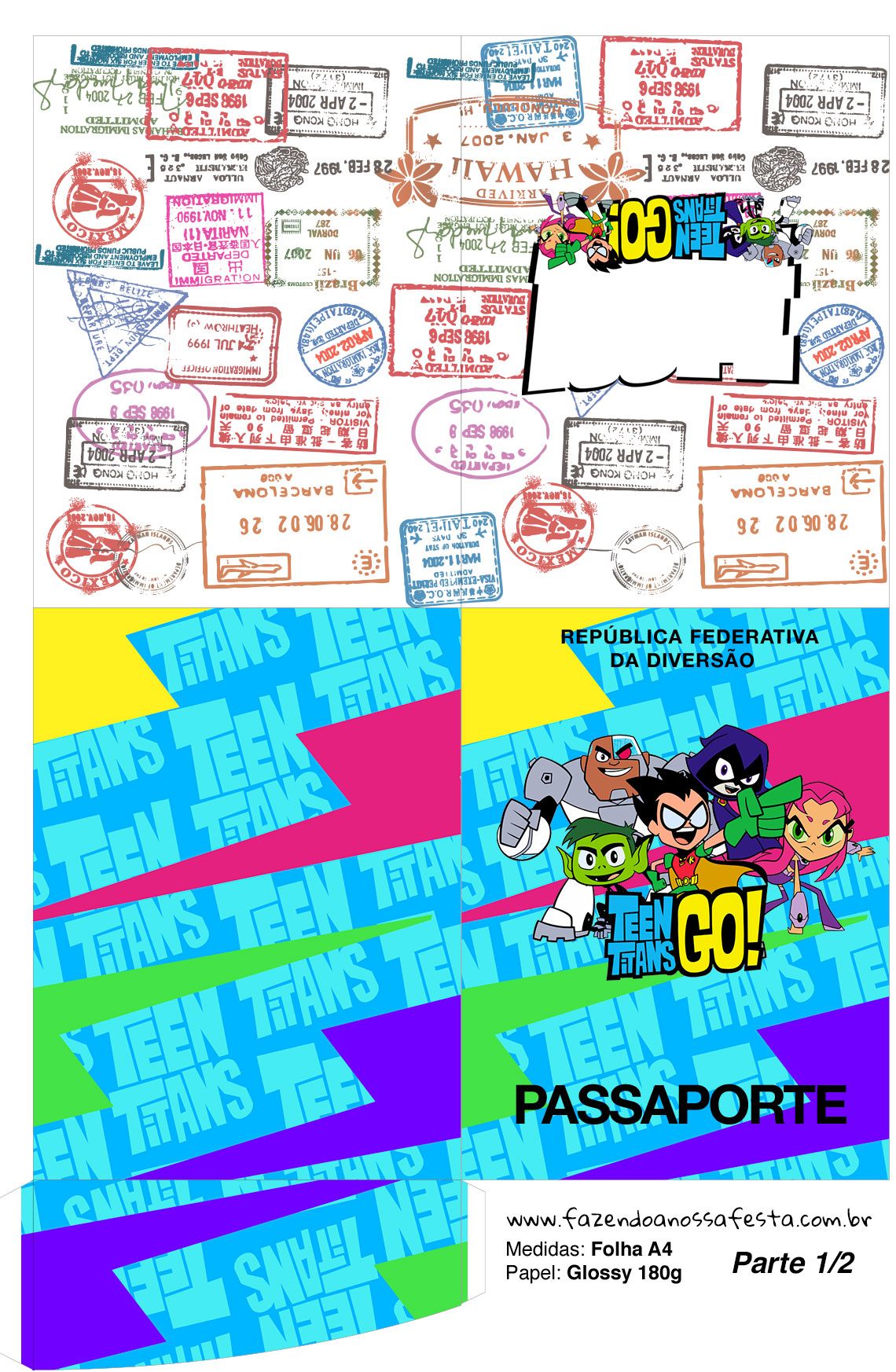 Molde Passaporte Jovens Titans