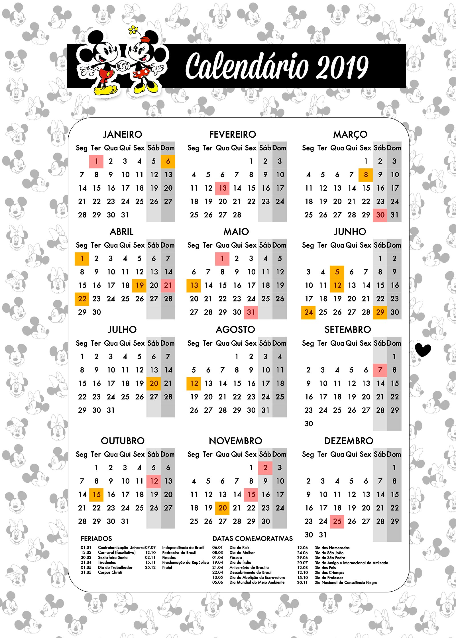 Planner para Professores Tema Mickey e Minnie Calendario Professor
