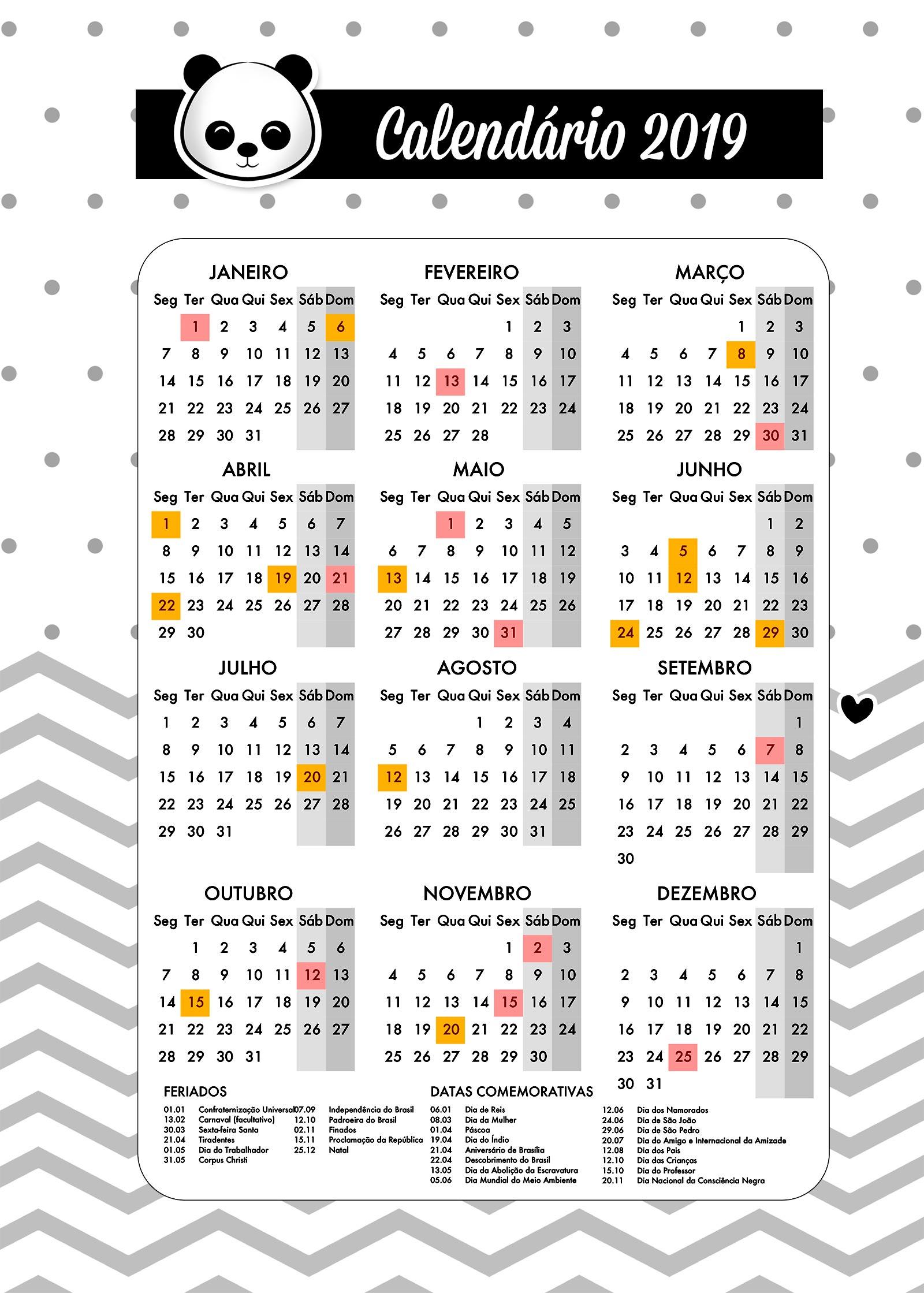 Planner para Professores Tema Panda Calendario Professor
