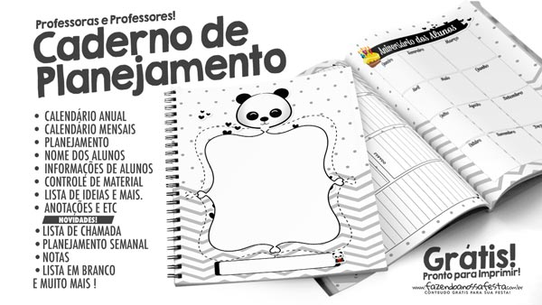 Planner para Professores Tema Panda
