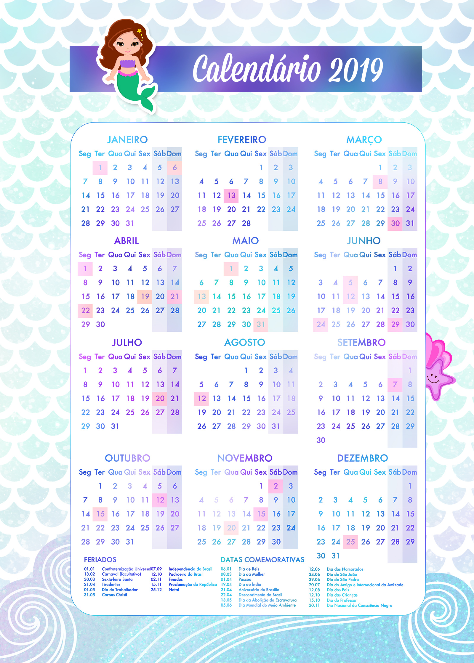 Caderno de Planejamento para Professores tema Sereia Calendario Professor
