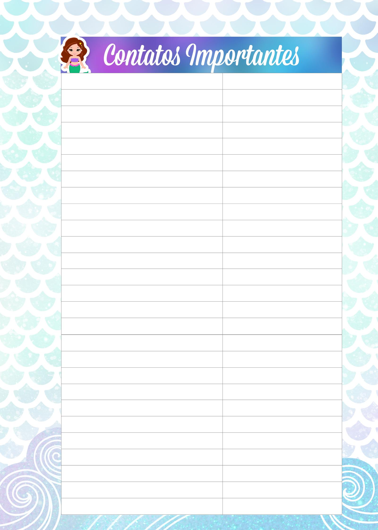 Caderno de Planejamento para Professores tema Sereia Contatos Importantes