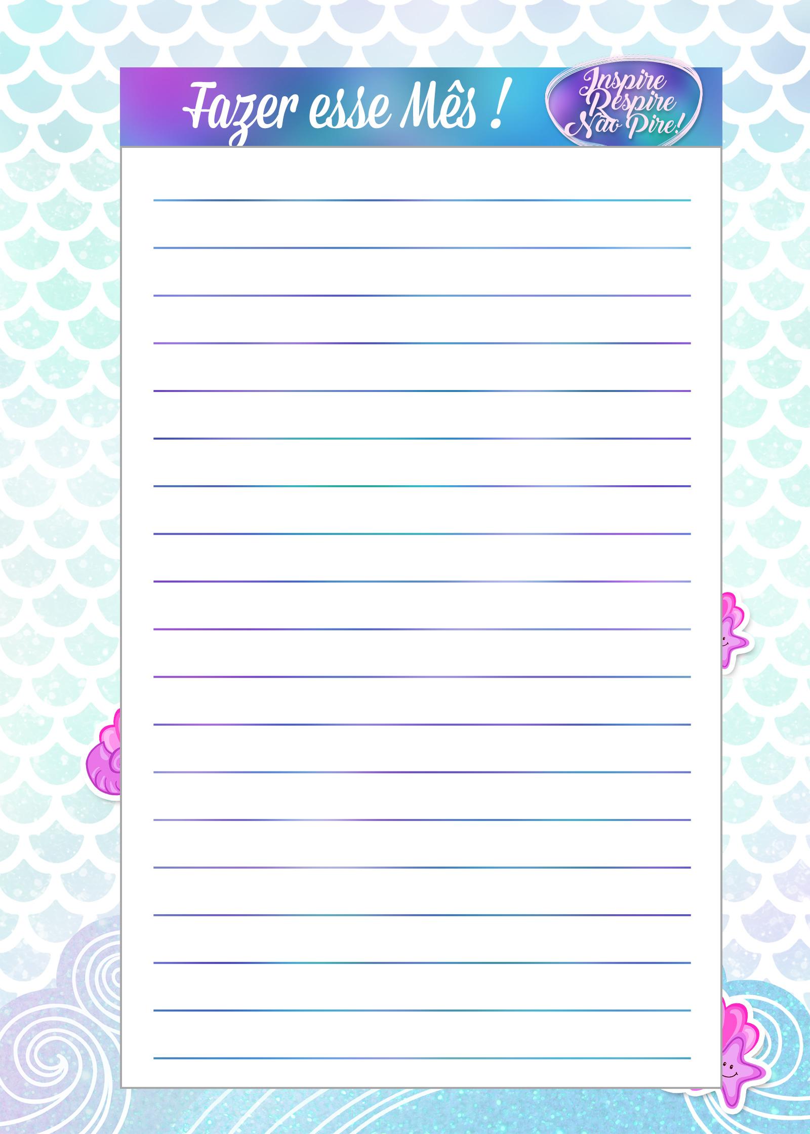 Caderno de Planejamento para Professores tema Sereia Fazer esse Mes