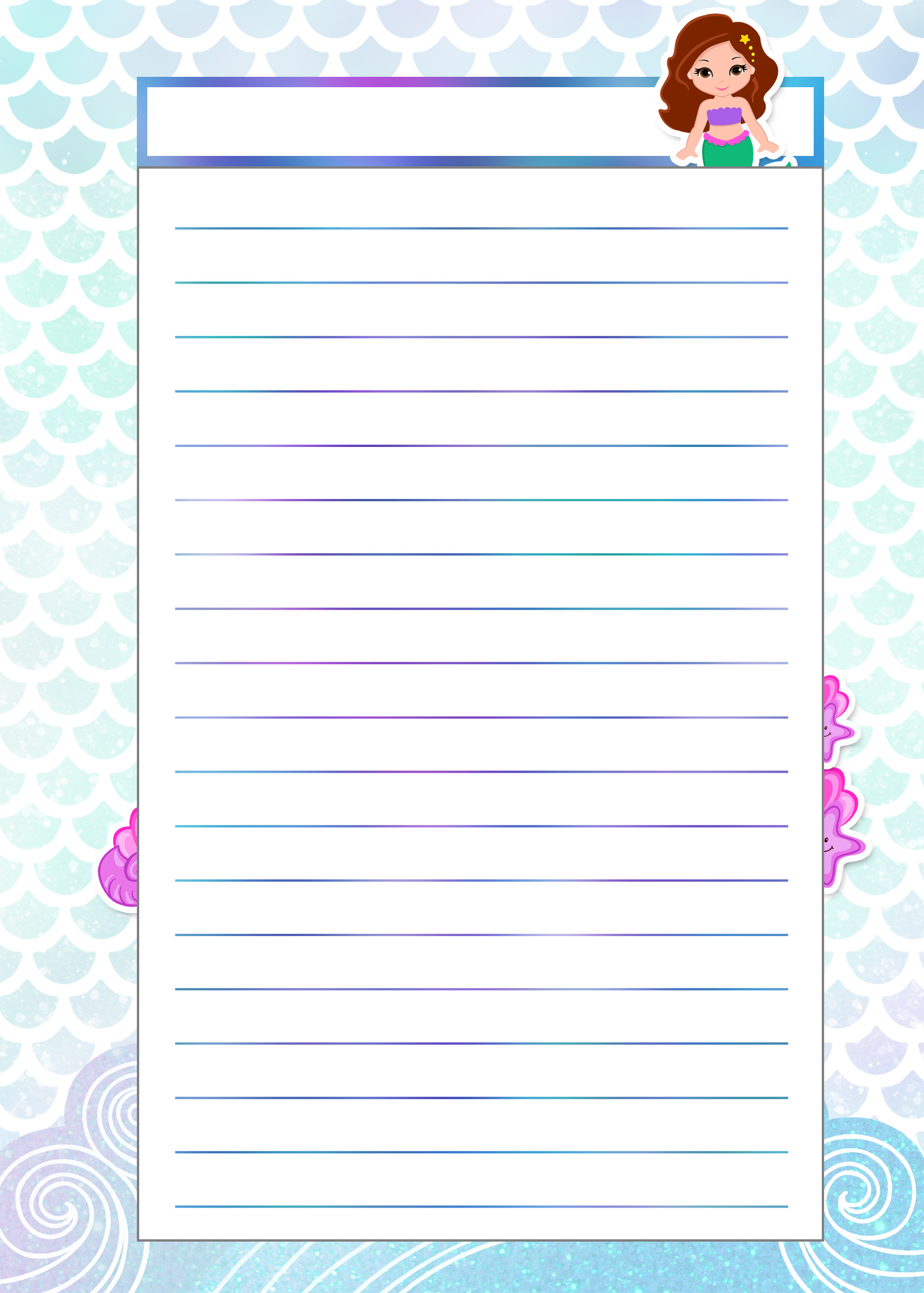 Caderno de Planejamento para Professores tema Sereia Modelo em Branco