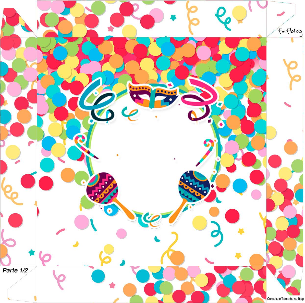 Caixa bombom Tampa Festa Carnaval Infantil