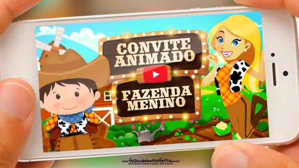 Convite Animado Fazendinha Gratis