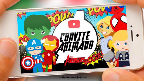 Convite Animado Vingadores Cute Gratis