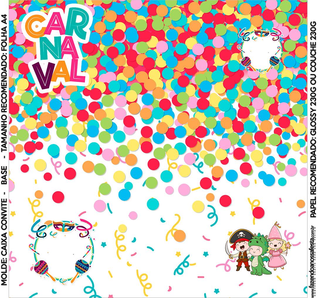 Convite Caixa Fundo Festa Carnaval Infantil