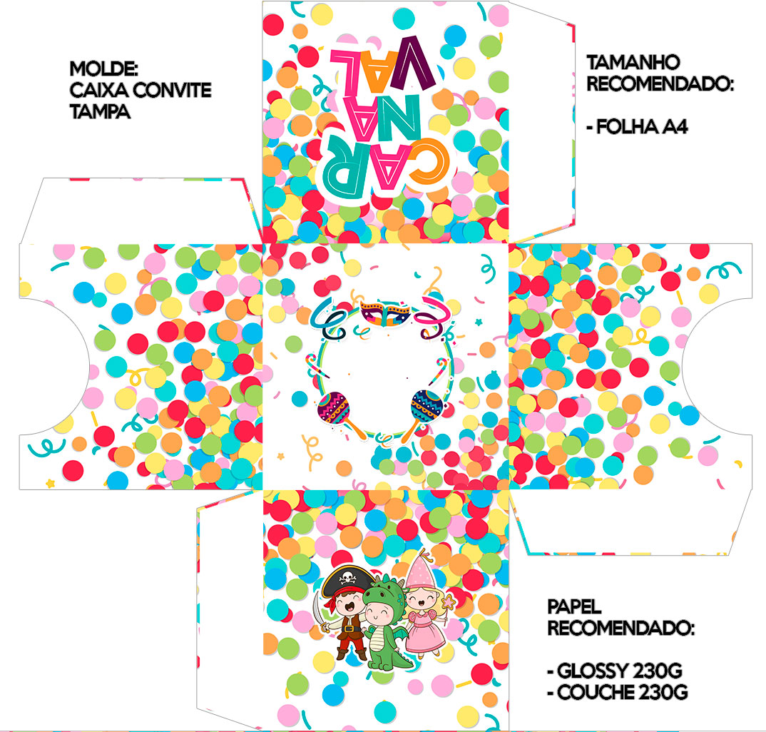Convite Caixa Tampa Festa Carnaval Infantil