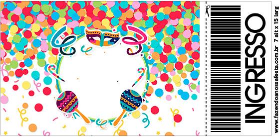 Convite Ingresso Festa Carnaval Infantil