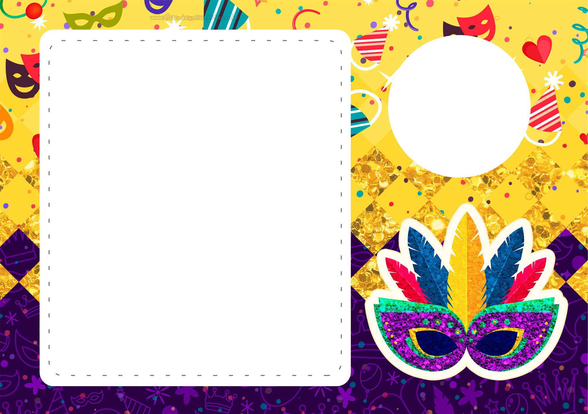Convite com Foto de Carnaval