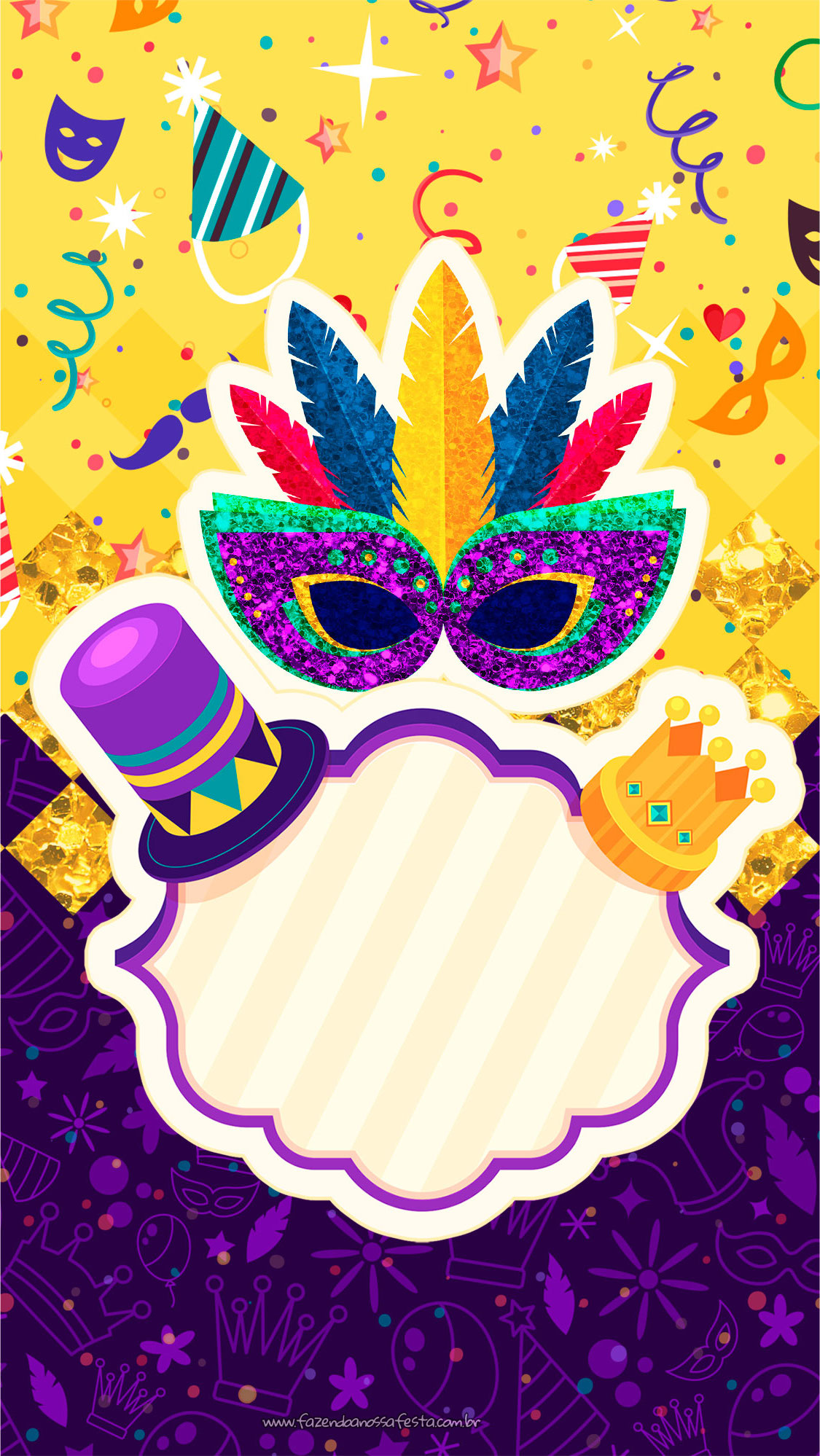 Convite para Celular de Carnaval