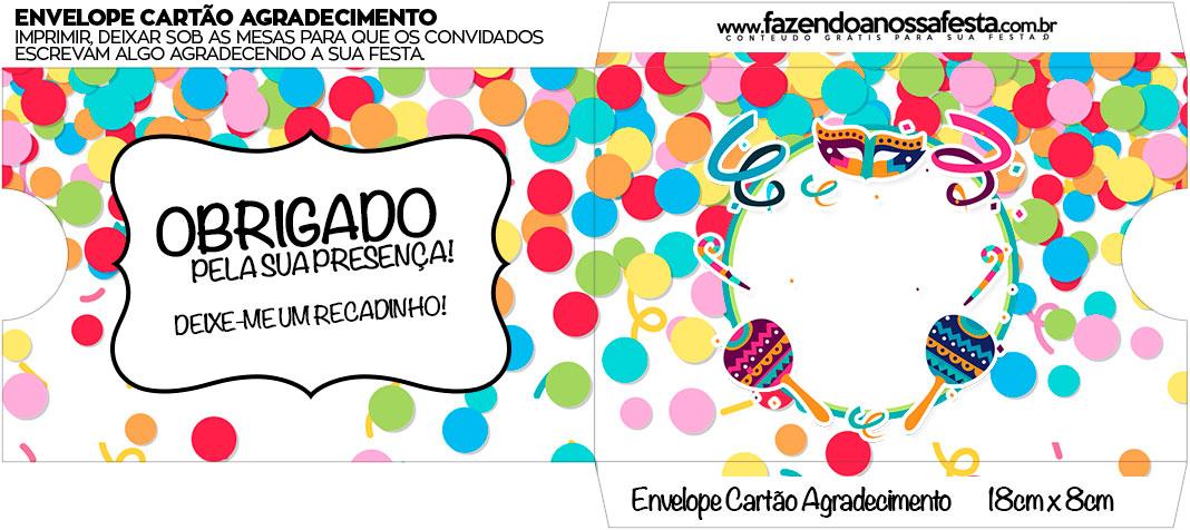 Envelope do Cartao Agradecimento Festa Carnaval Infantil
