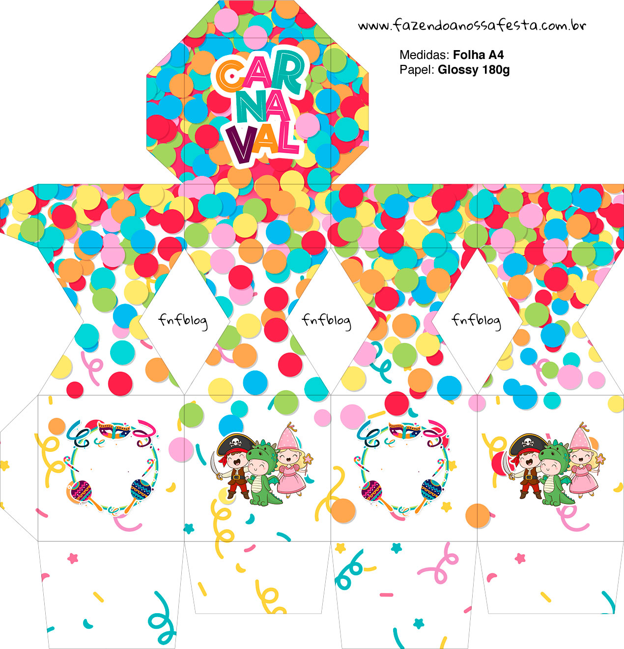 Meia Caixa Bala Festa Carnaval Infantil