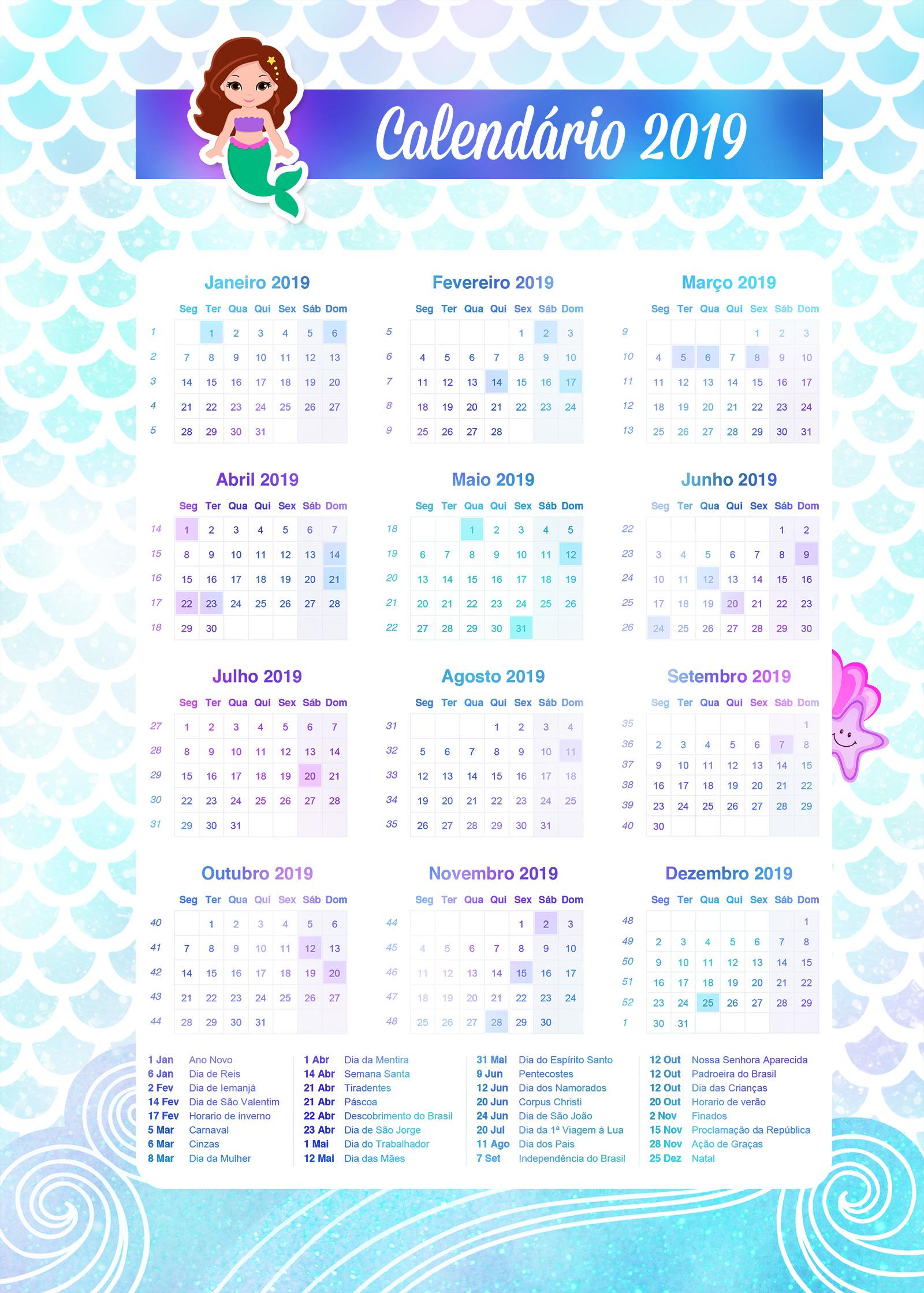 calendario 2019 sereia caderno de planejamento para imprimir