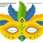 mascara de carnaval amarela adulto