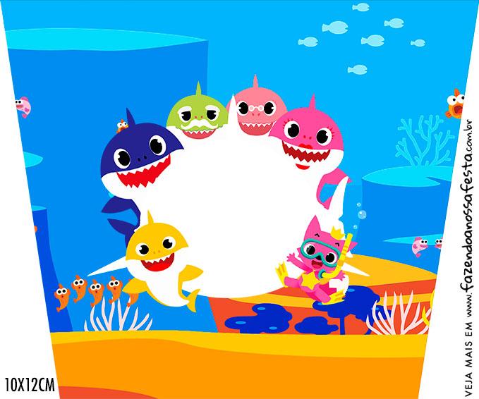 Adesivo Balde de Pipoca Baby Shark
