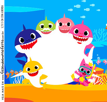 Adesivo Quadrado Baby Shark