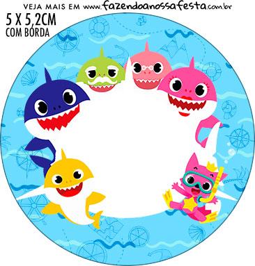 Adesivo para tubetes Baby Shark