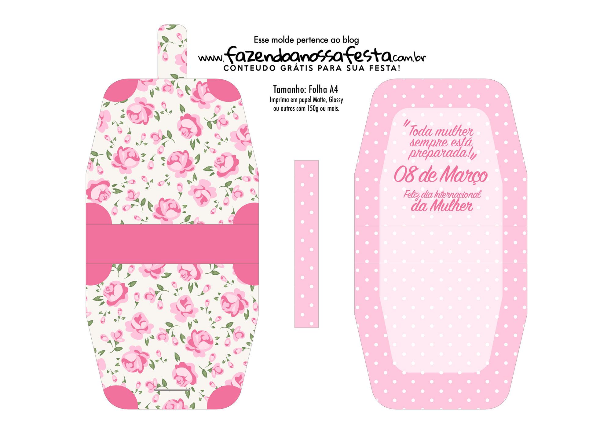 Bolsinha Baton dia da Mulher Floral Rosinha
