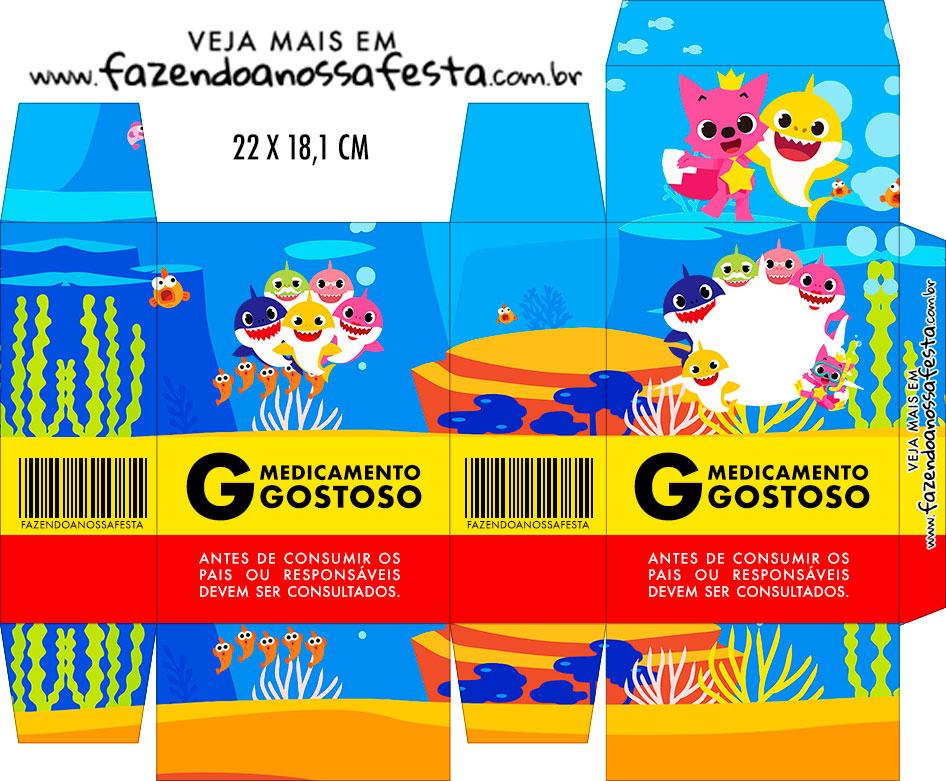 Caixinha de Remedio Personalizada Kit Festa Baby Shark