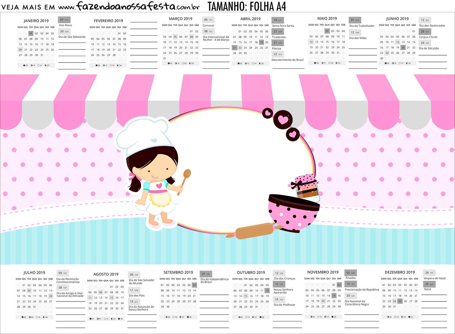 Calendario Personalizado 2019 Festa Confeitaria