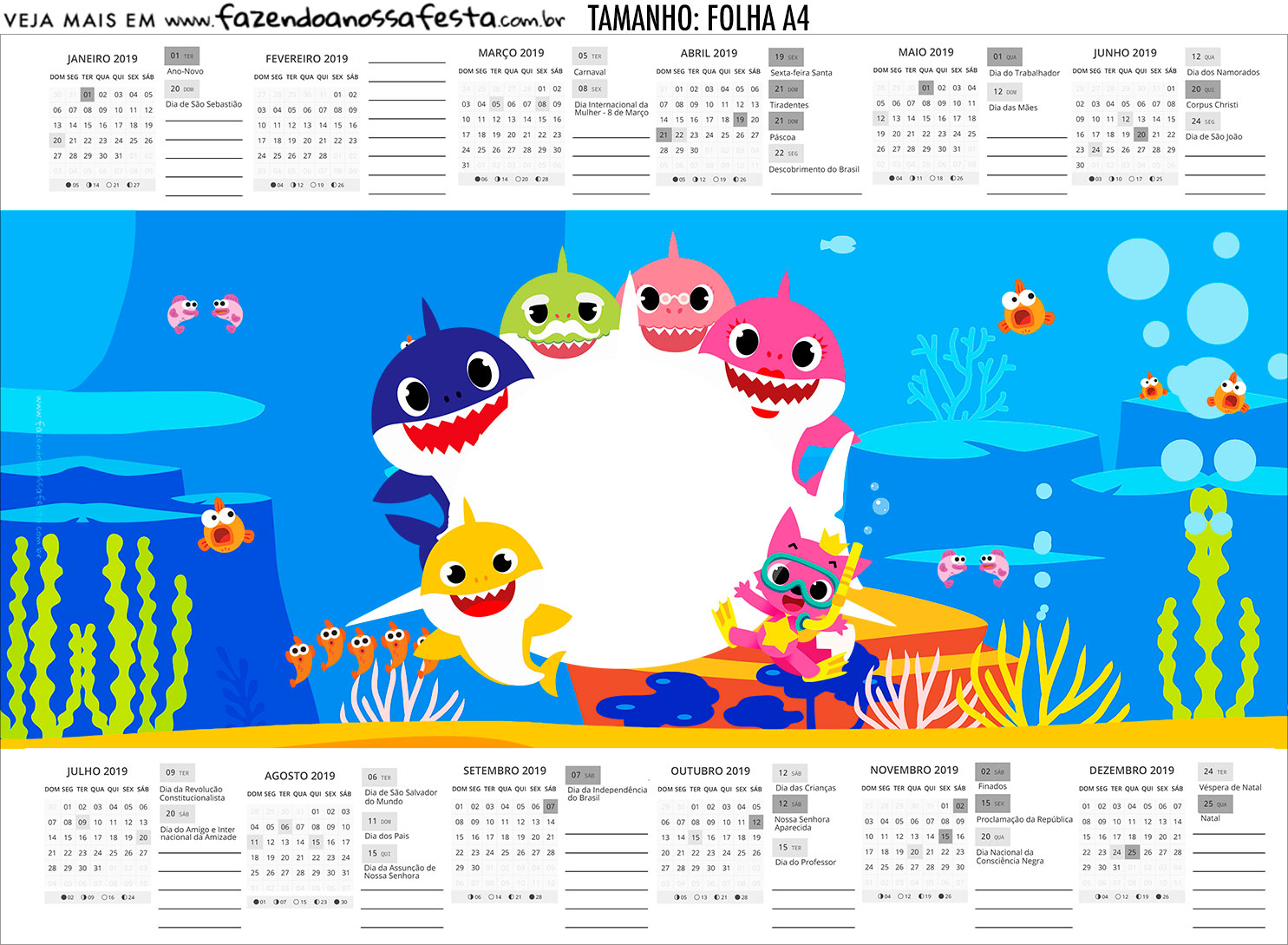 Calendario Personalizado 2019 Kit Festa Baby Shark