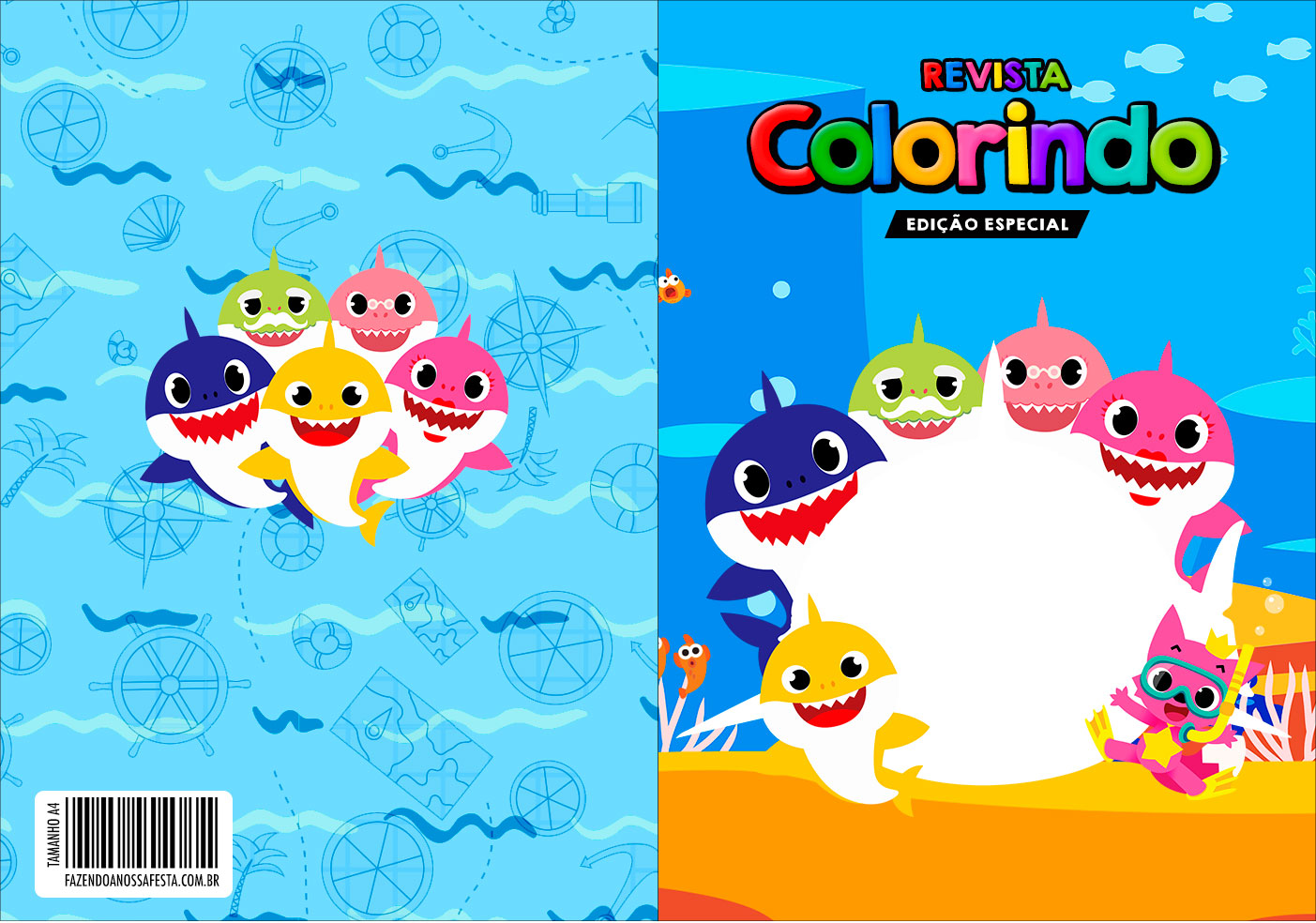 Capa Livrinho para Colorir Kit Festa Baby Shark