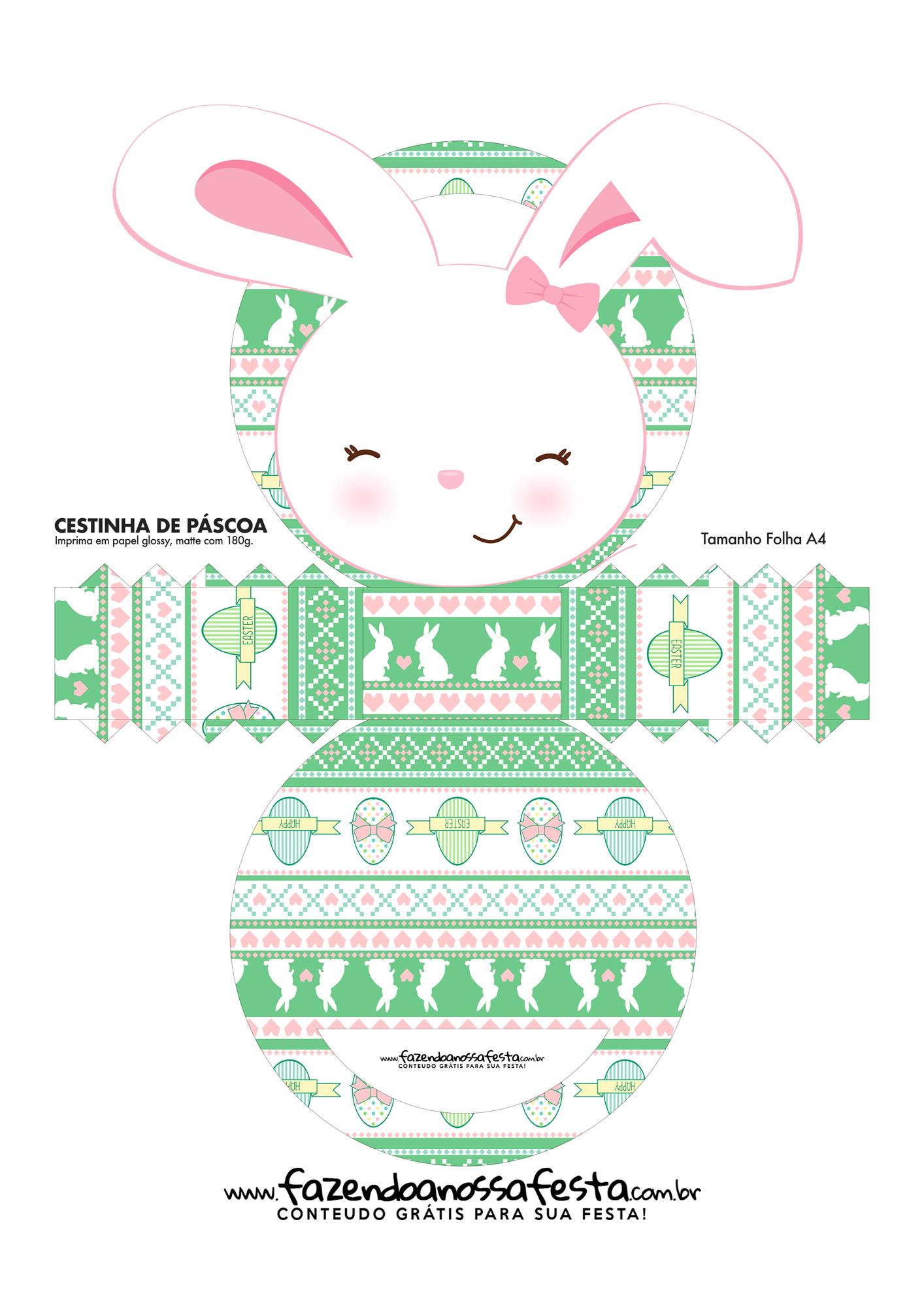 Cesta de Pascoa para Imprimir e Personalizar