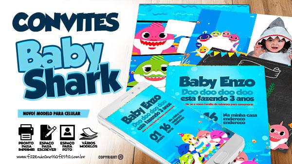 Convite Baby Shark para editar Varios Modelos gratis