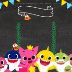 Convite Baby Shark para editar gratis