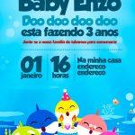 Convite Baby Shark preenchido exemplo