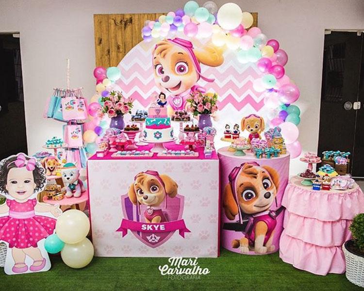 Ideia Painel Festa Patrulha Canina para meninas 33