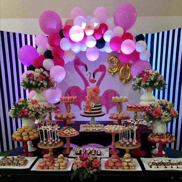 Ideia painel redondo para festa Flamingo 2