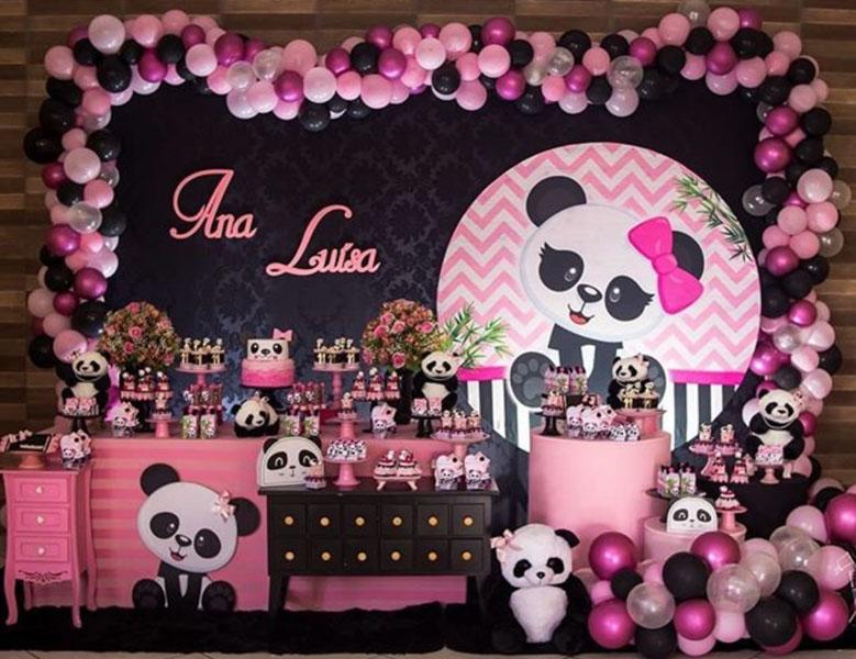 Ideia painel redondo para festa Panda 9