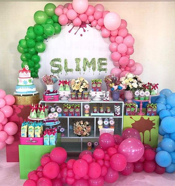 Painel Redondo para festa Slime 6